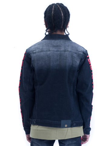 Mens Yekim Denim Jacket Dark Black with Red Yekim Side Lining