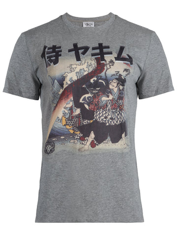 t-shirts for men crewneck printed samurai sumo japanese casual short sleeve cotton swordsmen warrior retro