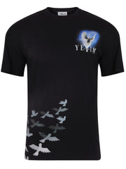 t-shirts for men crewneck printed dove bird black casual short sleeve cotton graphic