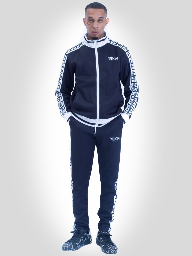 Mens Black with White Lined Yekim Tracksuit