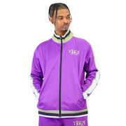 Mens Lilac and White Lined Tracksuit