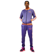 Mens Purple and Yellow Lined Tracksuit