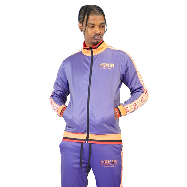 Mens Blue and Yellow Lined Tracksuit