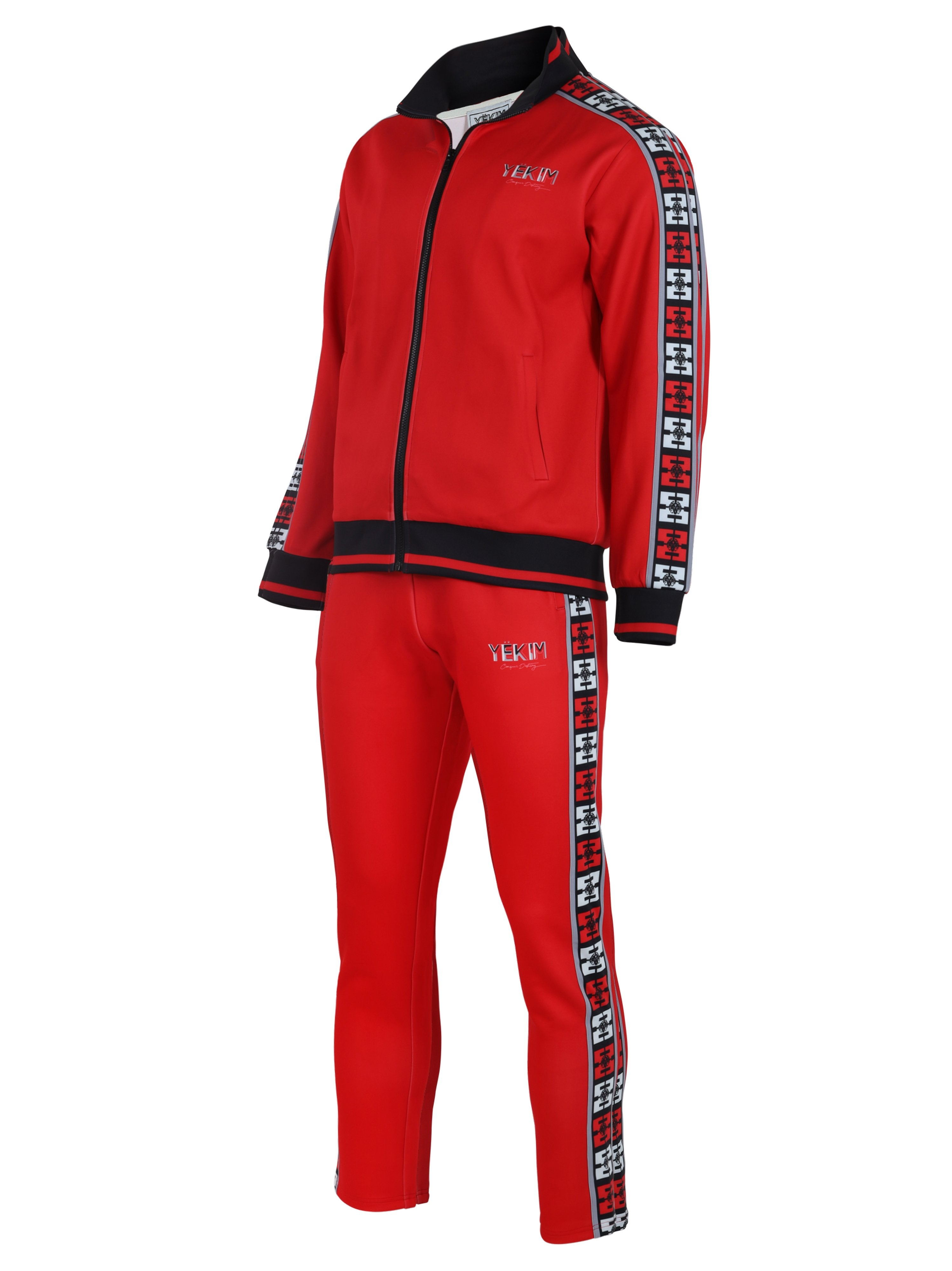 Mens Red with Black Lined Yekim Tracksuit