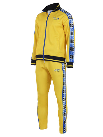 Mens Yellow with Blue Lined Yekim Tracksuit