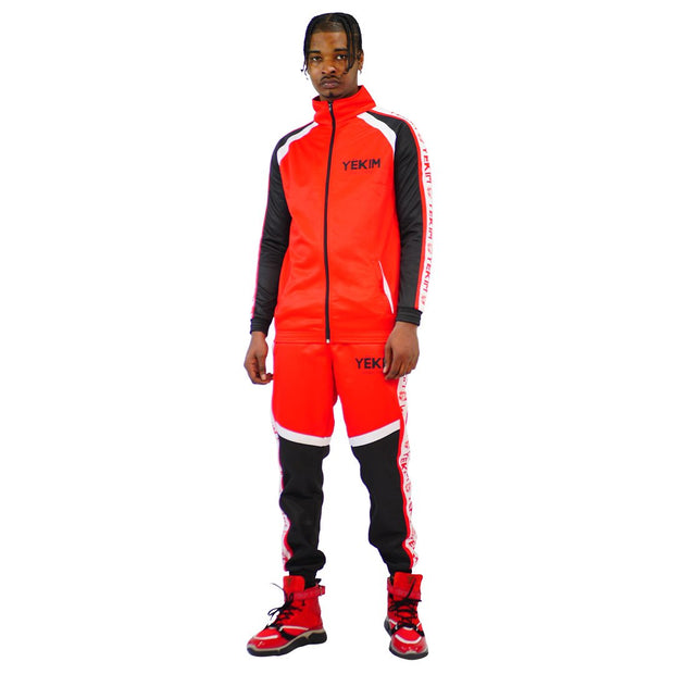 Mens Color Block Tracksuit Red Black