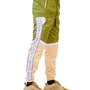 Mens Color Block Tracksuit Green and Yellow