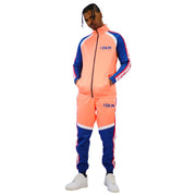 Mens Color Block Tracksuit Orange Blue