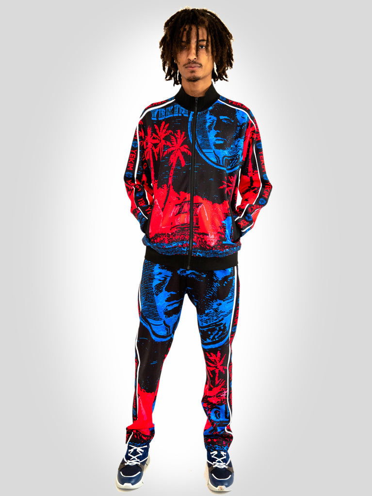 Mens Tracksuit with Hawaiian Design Red and Blue