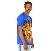 Mens Shirts Big Lion Print Blue