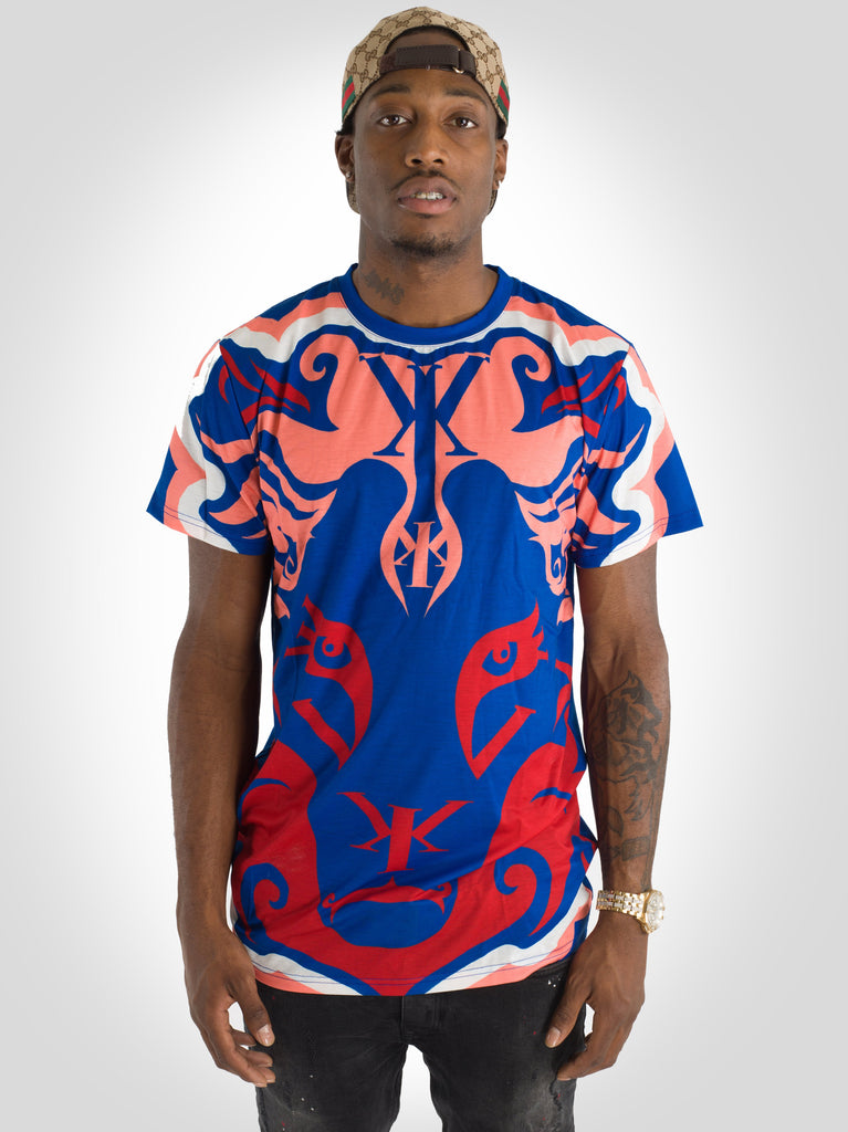 Big Lion Face Yekim Shirt Blue Orange Red