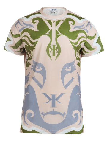 Big Lion Face Yekim Shirt Olive Peach Gray