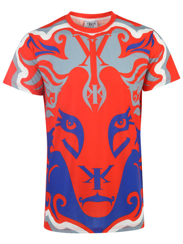 Big Lion Face Yekim Shirt Red Gray Blue