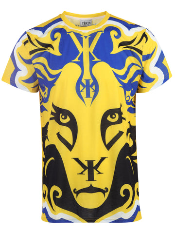Big Lion Face Yekim Shirt Yellow Blue Black