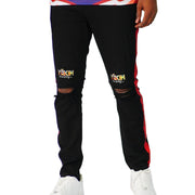 Mens Conquer Destiny Black and Red Stripe Denim