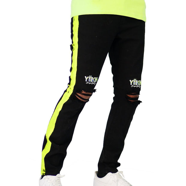 Mens Conquer Destiny Black and Yellow Stripe Denim