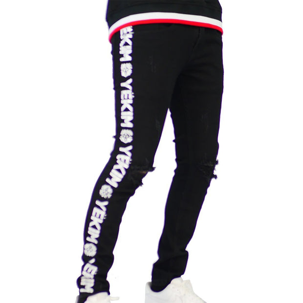 Mens Black Denim with White Yekim Side print