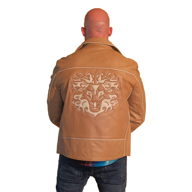 Mens Biker Gator Embossed Brown Jacket - S