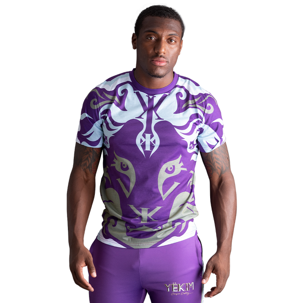 Big Lion Face T (Purple/Gray)