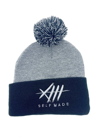 Grey Matter Pom Beanie / Black & Grey
