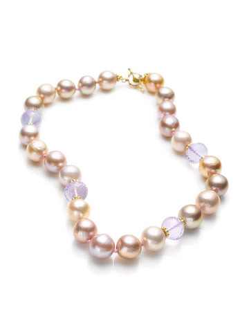 Jumbo Mauve Pearls & Lilac Quartz Bead Necklace