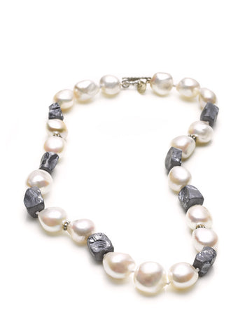 Freshwater Baroque Pearls & Silica Bead Necklace