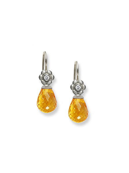 Citrine & Floral White Gold Earrings