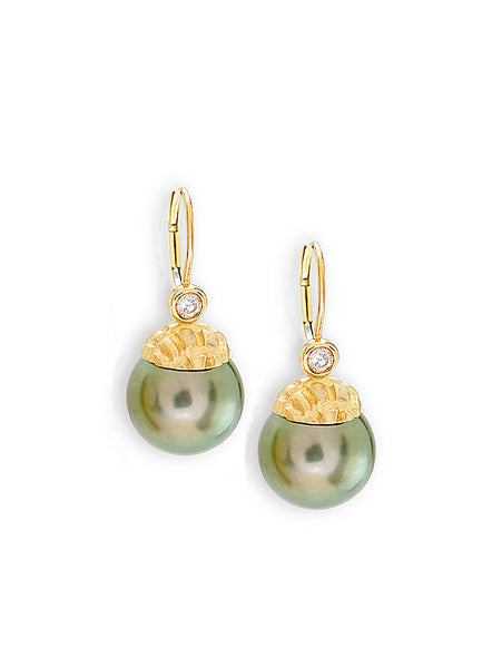 Pistachio Hue Tahitian Pearl Earrings