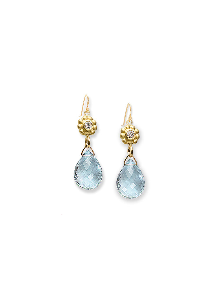 Petite Floral & Aquamarine Briolette Earrings
