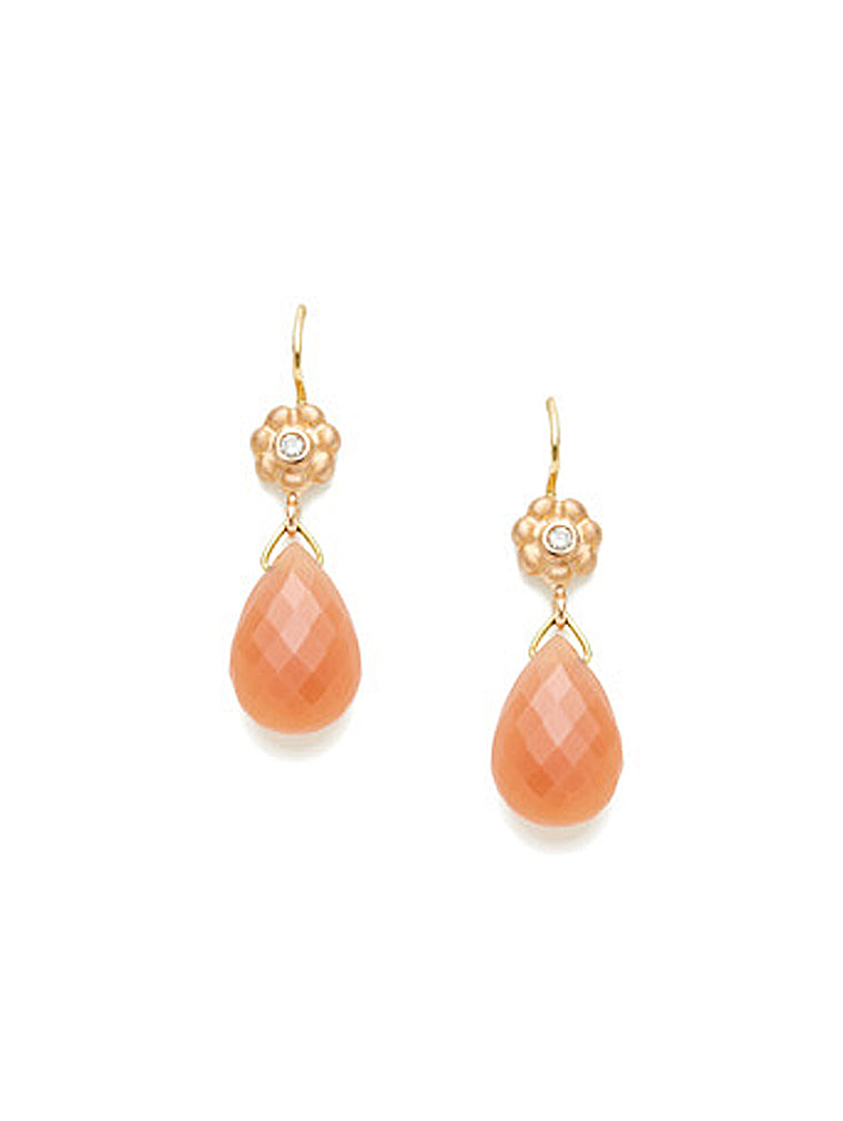 Peach Moonstone & Floral Rose Gold Earrings