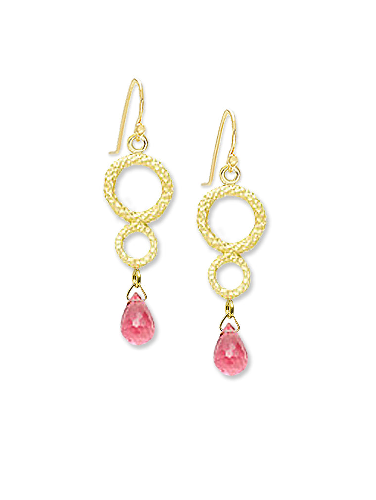 Pink Tourmaline Briolette Drop Earrings