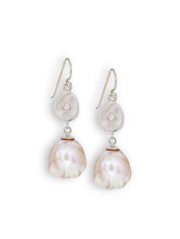 Baroque Pearl & Diamond Earrings
