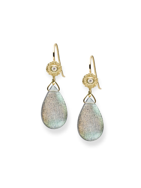 Diamond Dot and Labradorite Drop  Earrings