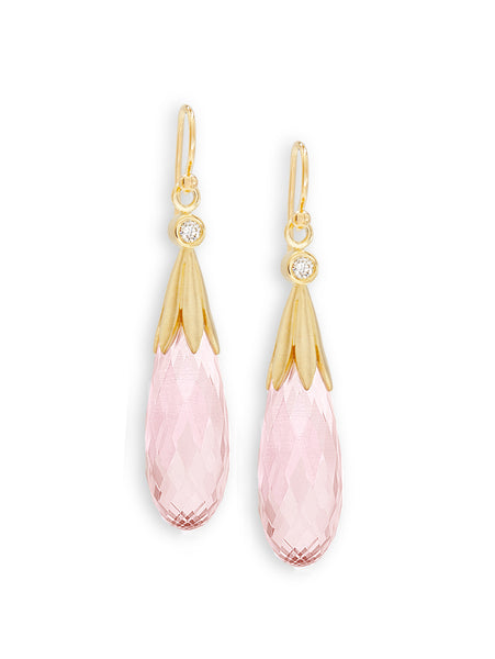 Pastel Rose Quartz Briolette Earrings
