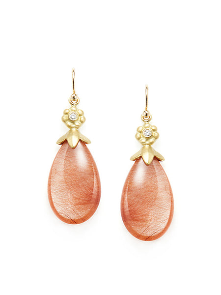 Red Rutile Quartz Drop & Diamond Earrings