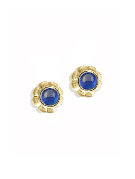 Sapphire Cabochon Post Earrings