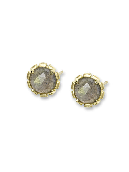 Labradorite Rose Cut Earrings