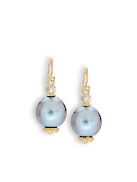 Silver-Blue Tahitian Pearl & Diamond  Earrings