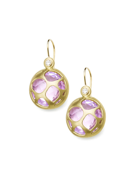 Rose Amethyst & Diamond Earrings