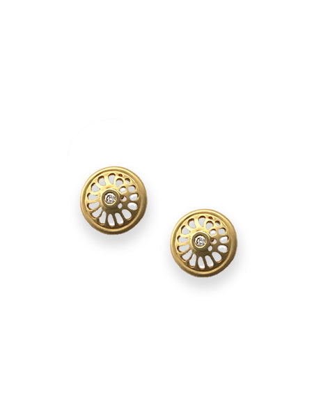 Nautilus 18K & Diamond Button Earrings