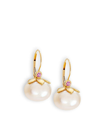 Spherical Pearl & Pink Sapphire Earrings