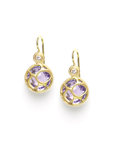 Faceted Amethyst and Diamond Petite Earrings
