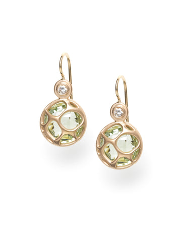 Rose Gold, Green Quartz & Diamond Earrings