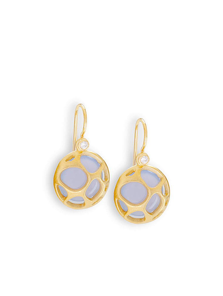 Chalcedony Barcelona & Diamond Earrings