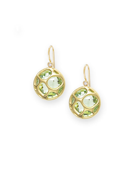 Green Quartz & Petite Diamond Earrings