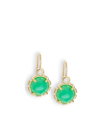 Chrysoprase Cabochon & Diamond Earrings