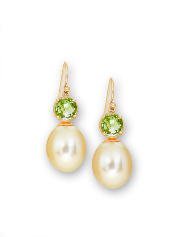 Peridot & Golden South Sea Pearl Earrings