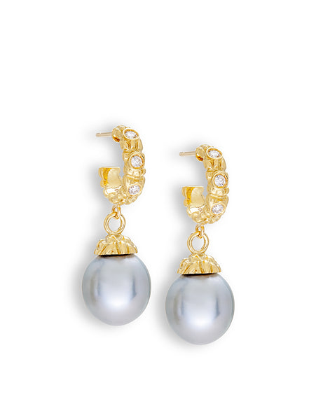 Diamond Hoop & Silver-Grey Tahitian Pearl Earrings