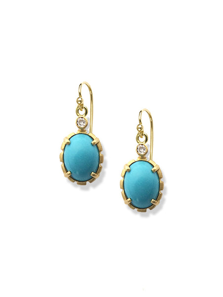 Sleeping Beauty Turquoise & Diamond Earrings