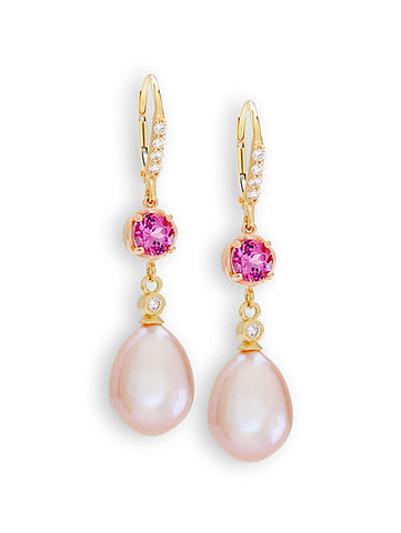 Diamond Sparkle, Rhodolite & Mauve Pearl Earrings